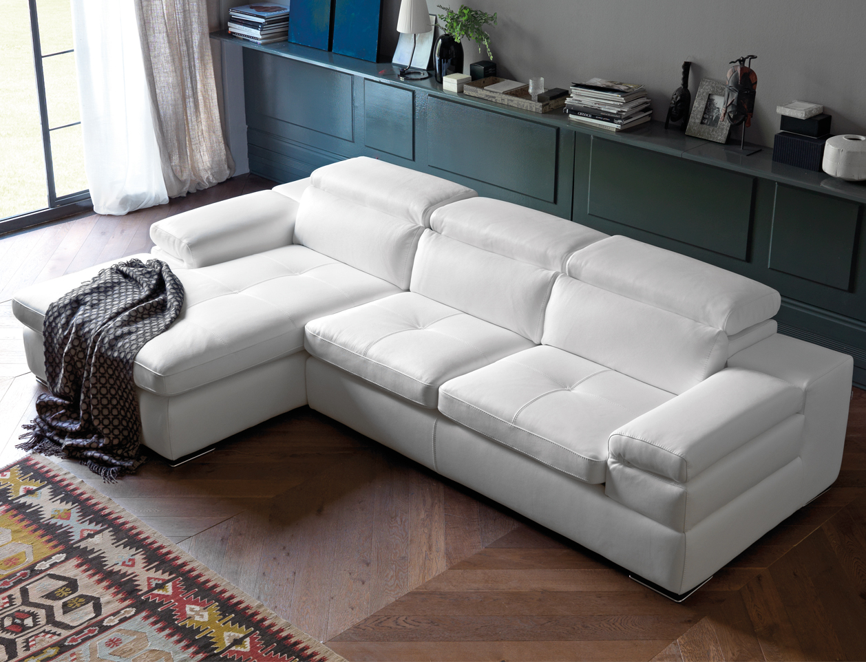 Miro Italian Leather Corner Sofa Left - SOFAITALIA